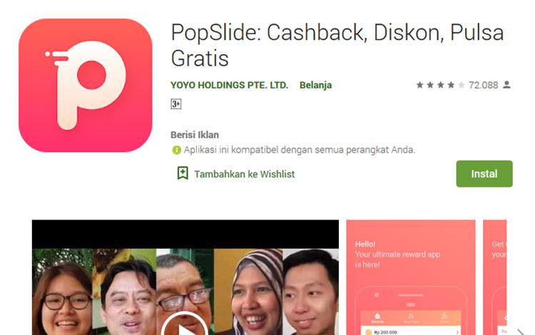 Aplikasi penghasil uang - PopSlide