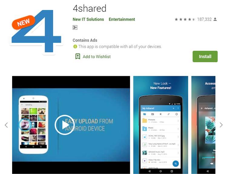 Aplikasi Download Lagu / Musik - 4shared