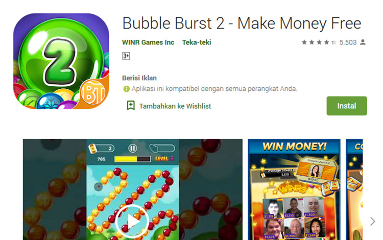 Aplikasi penghasil uang - Bubble Burst 2