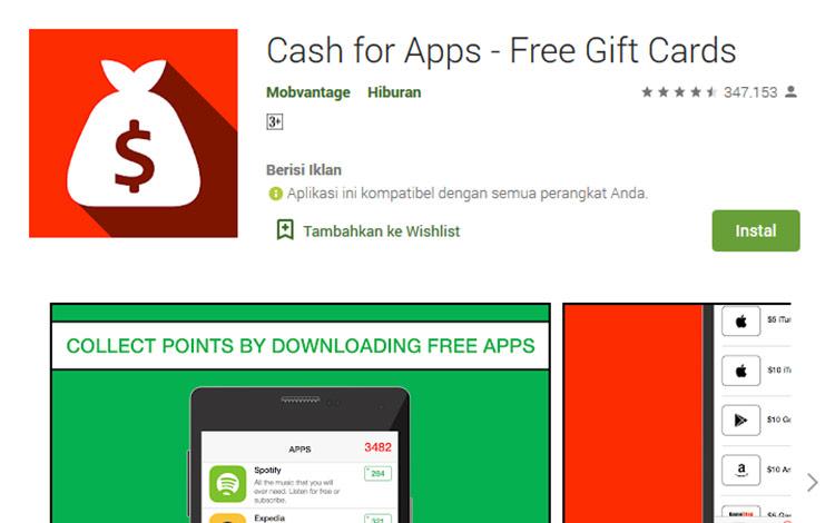 Aplikasi penghasil uang - Cash for Apps