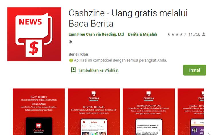 Aplikasi penghasil uang - Cashzine