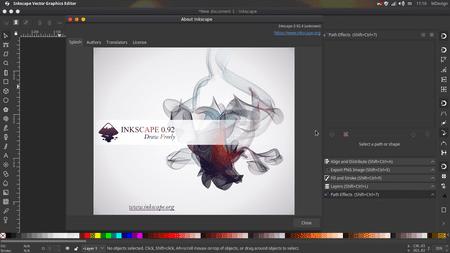 tampilan utama aplikasi desain grafis InkScape