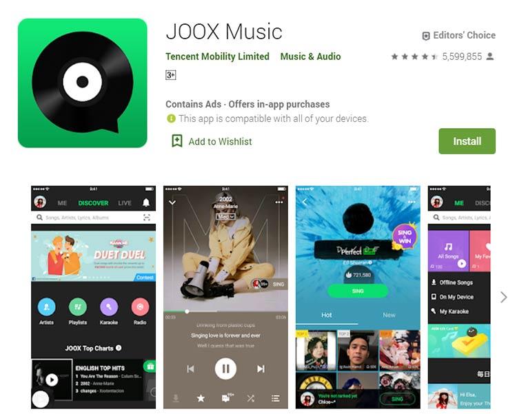 Aplikasi Download Lagu / Musik - JOOX Music