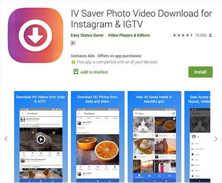 Aplikasi download video Instagram - IV Saver Photo Video Download for Instagram & IGTV