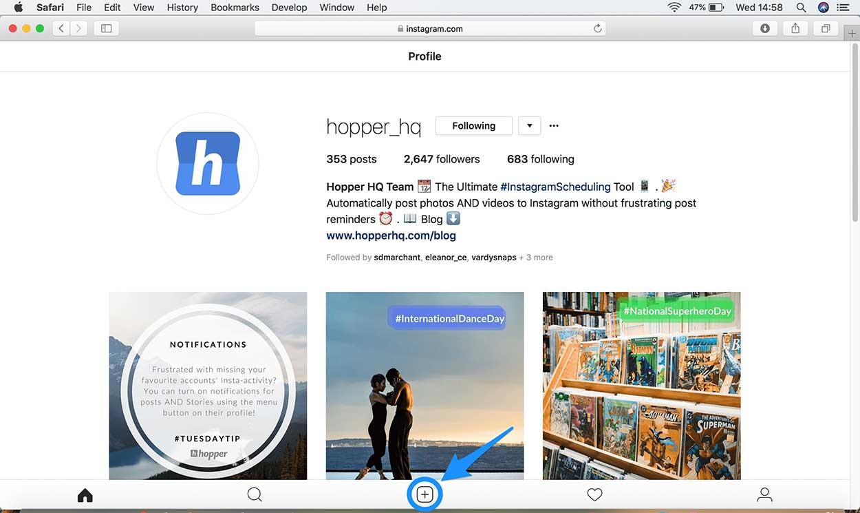 Cara upload foto Instagram di PC via Safari
