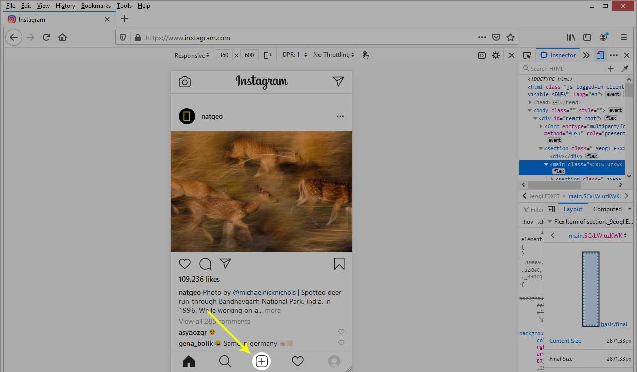 Cara Upload Foto Instagram di PC melalui Mozilla Firefox