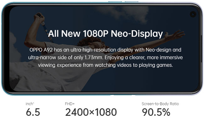 Spesifikasi layar Oppo A92