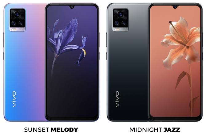 Desain dan pilihan warna vivo V20
